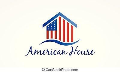 estados unidos de américa, casa, con, norteamericano, flag., vector, logotipo, símbolo
