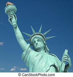 estados unidos de américa, ciudad, cielo, libertad, fondo.,...
