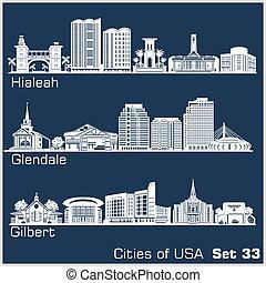 estados unidos de américa, ciudades, detallado, hialeah, ...