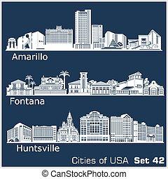 estados unidos de américa, ciudades, detallado, illustration...