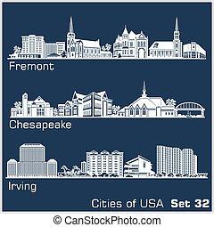 estados unidos de américa, ciudades, detallado, irving., ...