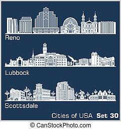 estados unidos de américa, ciudades, detallado, reno, ...