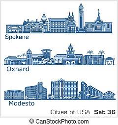 estados unidos de américa, ciudades, modesto, detallado, ...