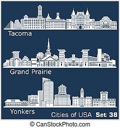 estados unidos de américa, ciudades, pradera, detallado, ...