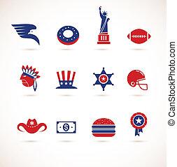 estados unidos de américa, -, colección, de, vector, iconos