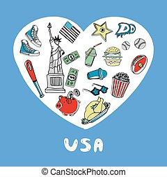 estados unidos de américa, coloreado, doodles, vector, colección