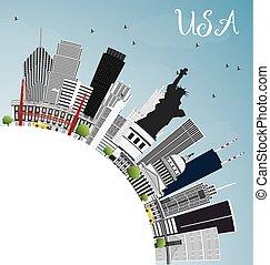 estados unidos de américa, contorno, con, gris, rascacielos, señales, y, copia, space.