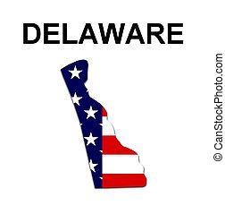 estados unidos de américa, delaware, rayas, estado, diseño,...