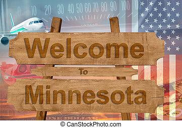 estados unidos de américa, estado, bienvenida, madera, ...
