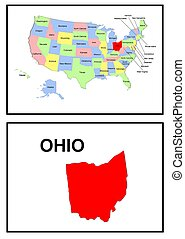 estados unidos de américa, estado, de, ohio