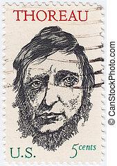 :, estados unidos de américa, estampilla, 1967, -, david, autor, norteamericano, thoreau, henry, hacia, era, poeta, exposiciones, impreso