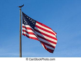 estados unidos de américa, estrellas y rayas, bandera, contra, cielo azul