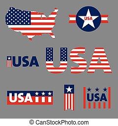 estados unidos de américa, etiquetas, señal, etiqueta, vector, conjunto