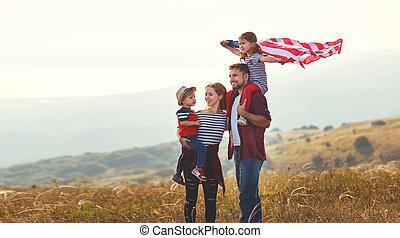 estados unidos de américa, familia , bandera, ocaso, aire libre, américa, feliz