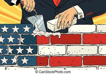estados unidos de américa, frontera, pared, político, construya