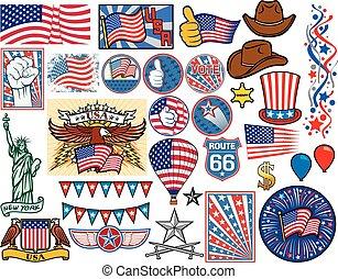 estados unidos de américa, iconos, conjunto