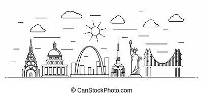 estados unidos de américa, línea, panorama, estilo