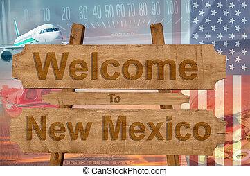estados unidos de américa, méxico, bienvenida, madera, ...