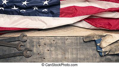 estados unidos de américa, madera, bandera, herramientas