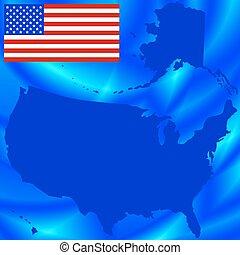 estados unidos de américa, mapa, en, resumen, plano de fondo