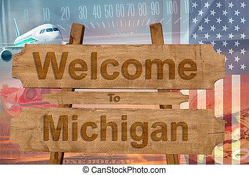 estados unidos de américa, michigan, bienvenida, madera, ...