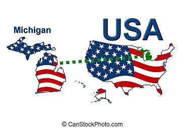 estados unidos de américa, michigan, rayas, estado, diseño,...