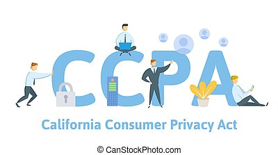 estados unidos de américa, personal, datos, vector, consumidor, ccpa, protection., california, intimidad, style., plano, ilustración, concepto, act., seguridad