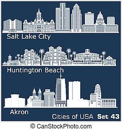 estados unidos de américa, playa, ciudades, detallado, ...