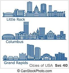 estados unidos de américa, poco, rapids, columbus, ciudades...