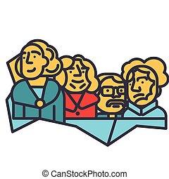estados unidos de américa, presidentes, monte rushmore, línea plana, ilustración, concepto, vector, aislado, icono
