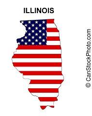 estados unidos de américa, rayas, illinois, estado, diseño,...