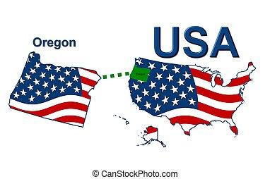 estados unidos de américa, rayas, oregón, estado, diseño,...