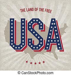 estados unidos de américa, resumen, cartel, diseño, vector,...