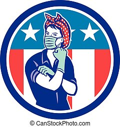 estados unidos de américa, riveter, rosie, mascota, llevando, bandera, máscara