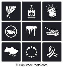 estados unidos de américa, rusia, conflicto, icons., vector,...