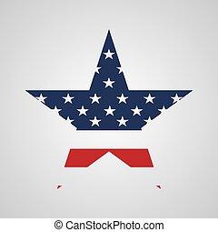estados unidos de américa, signo estrella, en, bandera, colors., vector