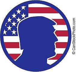 estados unidos de américa, silueta, donald, frente, triunfo, lote, bandera