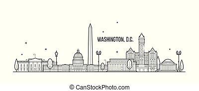 estados unidos de américa, vector, washington, c., edificios...