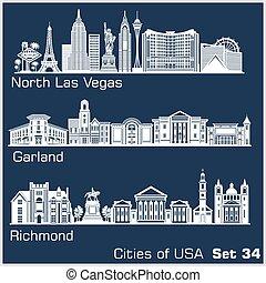 estados unidos de américa, vegas, ciudades, detallado, ...