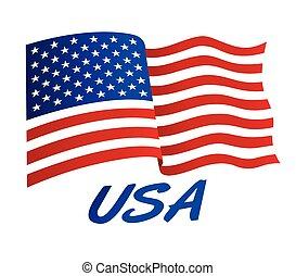 estados unidos de américa, viento, bandera, norteamericano