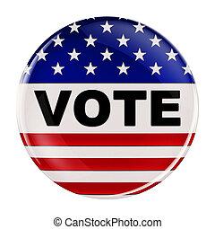 estados unidos de américa, voto, botón, con, ruta de recorte