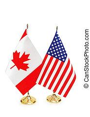 estados unidos de américa, y, canadá, banderas, aislado, blanco