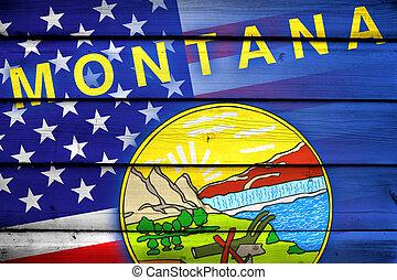 estados unidos de américa, y, estado de montana, bandera, en, madera, plano de fondo