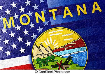 estados unidos de américa, y, estado de montana, bandera, pintado, en, cuero, textura