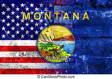 estados unidos de américa, y, estado de montana, bandera, pintado, en, grunge, pared