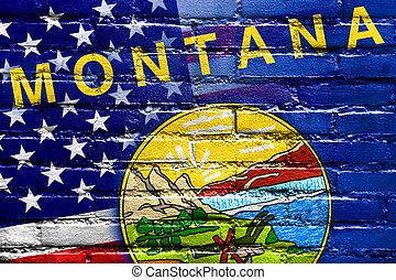 estados unidos de américa, y, estado de montana, bandera, pintado, en, pared ladrillo