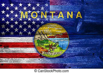 estados unidos de américa, y, estado de montana, bandera, pintado, en, viejo, madera, tablón, textura