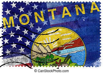 estados unidos de américa, y, estado de montana, bandera, -, viejo, sello