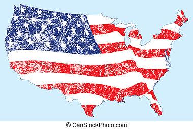 estados unidos, mapa, con, bandera, y, grunge