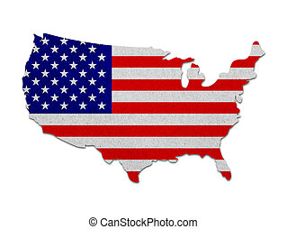 estados unidos, mapa, con, el, bandera, papel